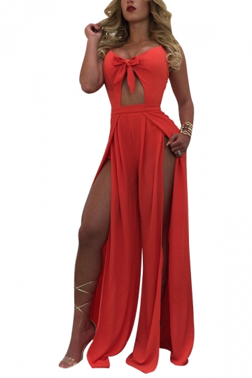 Womens Sexy Straps Hollow Out Bow Slits High Waist Jumpsuit Orange