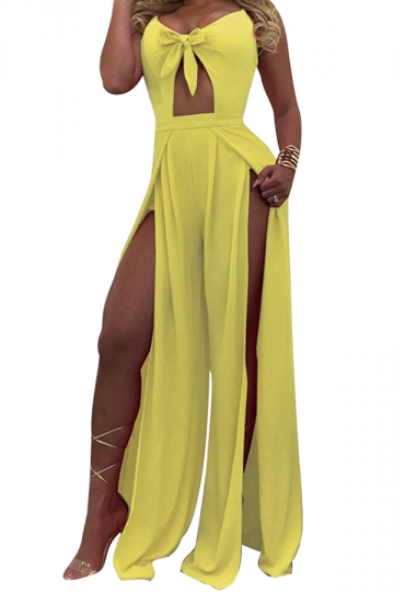 Womens Sexy Straps Hollow Out Bow Slits High Waist Jumpsuit Yellow