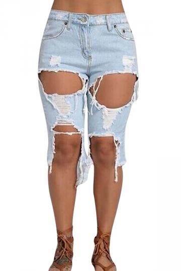 Womens Cut Out High Waist Asymmetric Knee Length Jeans Light Blue