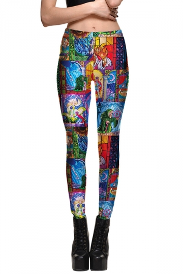 Womens Fitness Cartoon Printed Designer Leggings Blue