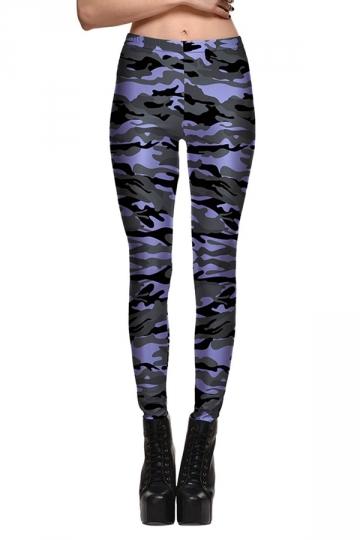 Womens Fitness Camouflage Printed Designer Leggings Light Purple