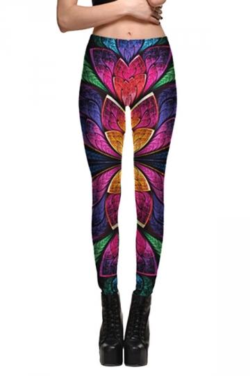 Womens Fitness Flower Pattern Printed Designer Leggings Rose Red