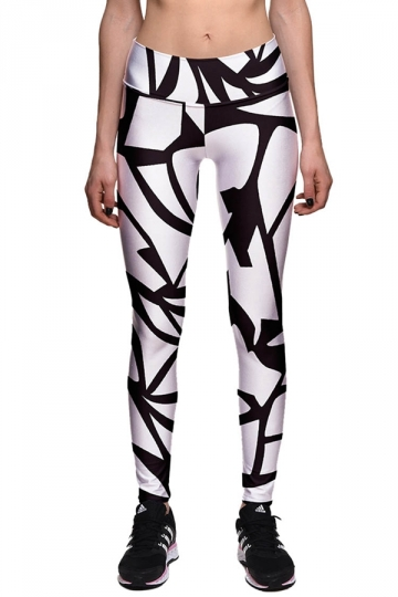 Womens High Waist Ankle Length Printed Sport Leggings White