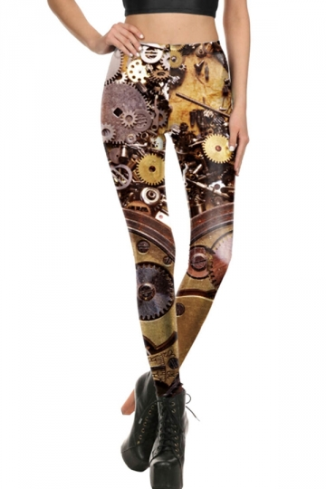Womens Elastic Digital Printed Designer Leggings Brown