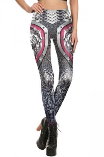 Womens Elastic Digital Printed Designer Leggings Dark Gray