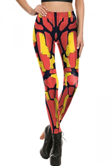 Womens Elastic Digital Printed Designer Leggings Orange