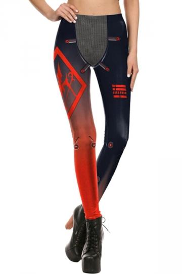 Womens Elastic Digital Printed Designer Leggings Red