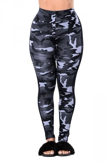 Womens Camouflage Sport Leggings Light Gray