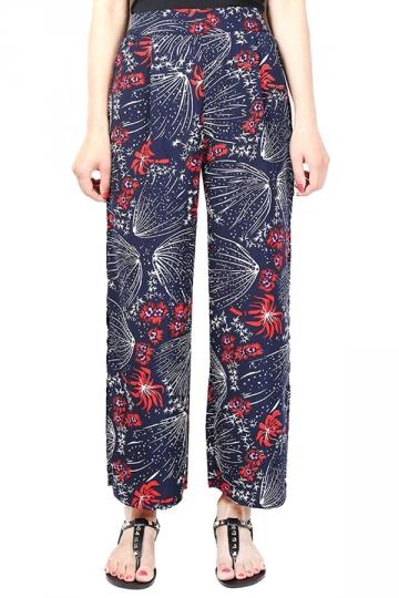 Womens Sexy Side Slits Chiffon Wide Leg High Waist Pants Red
