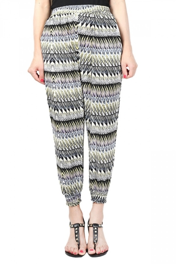 Womens Elastic Printed Loose Leisure Pants Yellow