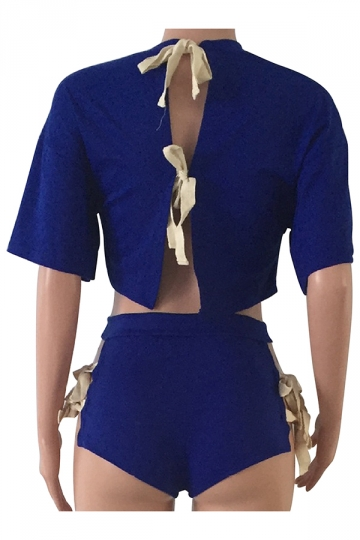 Womens Crewneck Lace Up Crop Top&High Waist Shorts Suit Sapphire Blue
