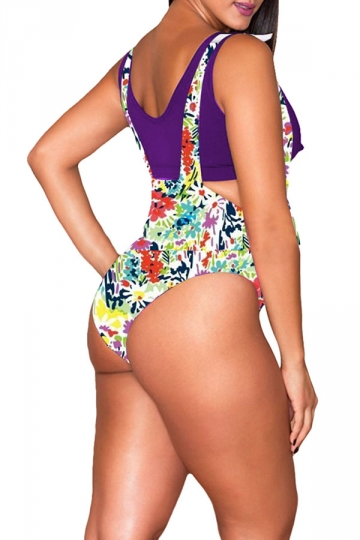 Womens Plus Size Flower Printed High Waist 2PCS Bikini Purple