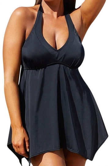 Womens Plus Size Halter Plain 2PCS Tankini Swimsuit Black