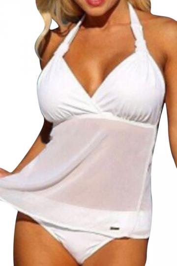 Womens Plus Size 2PCS Mesh Patchwork Plain Tankini Swimsuit White