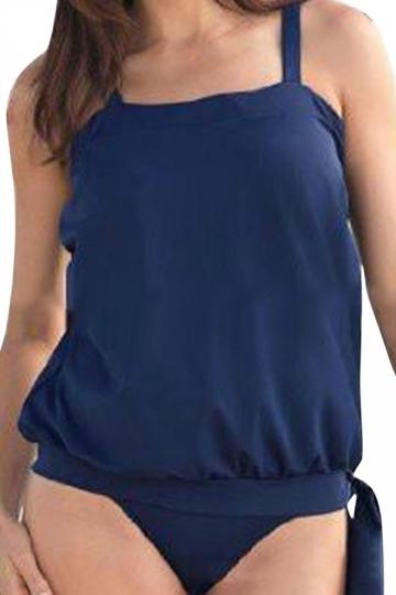 Womens Plain Two-piece Plus Size Tankini Swimsuit Navy Blue