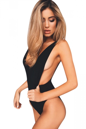 Womens Sexy Backless Deep V-neck One Piece Swimsuit Black