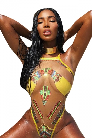 Womens Sexy Printed See Through One Piece Swimwear Yellow
