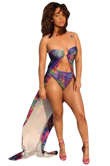 Womens Sexy Printed Strapless Full-length Bikini Set Purple