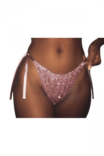 Womens Sexy String Sequins Swimsuit Bottom Pink