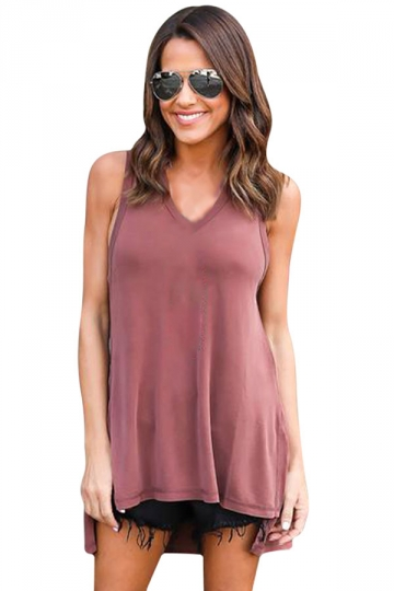 Womens V-neck High Low Sides Slit Plain Hooded Tank Top Pink