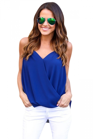 Womens Cross Wrapped High Low Irregular Hem Camisole Top Blue