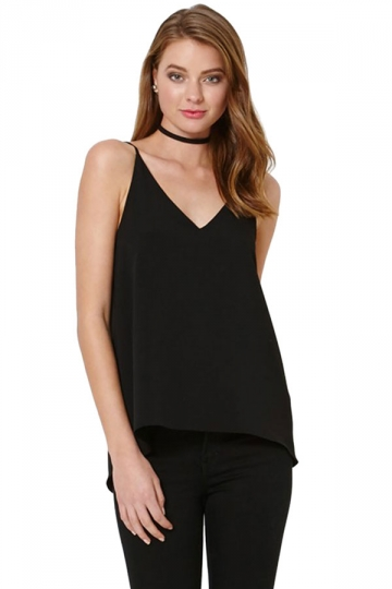Womens Sexy Plain Strips Chiffon Camisole Top Black