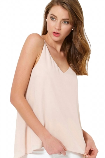 Womens Sexy Plain Strips Chiffon Camisole Top Beige White