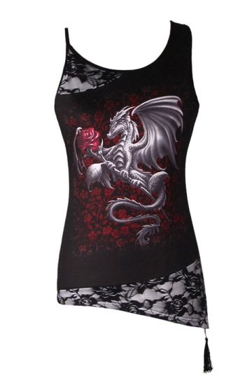 Womens Lace Patchwork Plus Size Dragon Printed Camisole Top Black