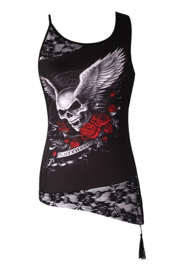 Womens Lace Patchwork Plus Size Skull Printed Camisole Top Black