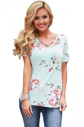 Womens Crisscross Neck Super Soft Floral T-Shirt Light Blue
