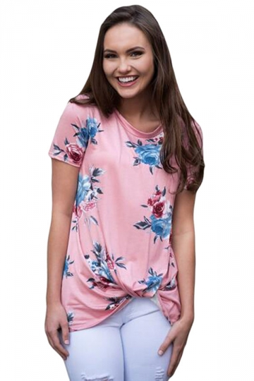 Womens Crew Neck Floral Short Sleeve T-shirt Pink