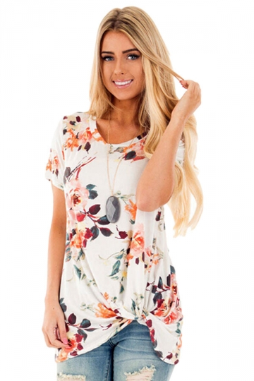 Womens Crew Neck Floral Short Sleeve T-shirt White