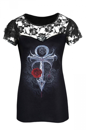 Womens Plus Size Printed Lace Patchwork Short Sleeve T-shirt Black