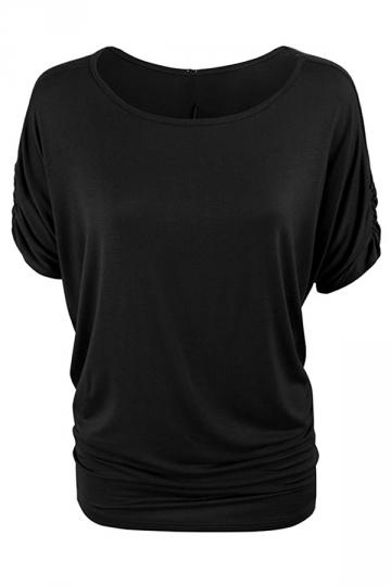 Womens Plain Crew Neck Batwing Short Sleeve T-shirt Black