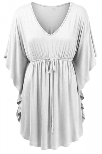 Womens V-neck Ruffle Sleeve Draw String Long Shirt White