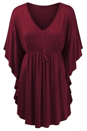 Womens V-neck Ruffle Sleeve Draw String Long Shirt Ruby