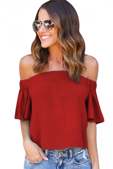 Womens Sexy Off Shoulder Plain Chiffon Ruffle Sleeve Blouse Ruby