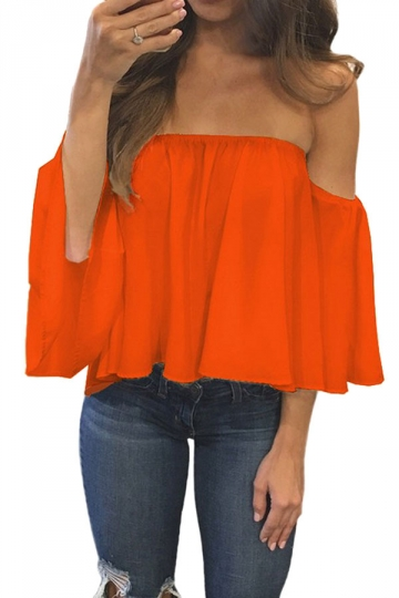 Womens Sexy Off Shoulder Chiffon Blouse Orange