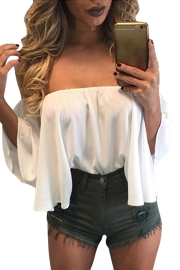 Womens Sexy Off Shoulder Chiffon Blouse White