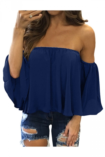 Womens Sexy Off Shoulder Chiffon Blouse Navy Blue