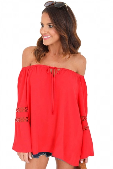 Womens Sexy Off Shoulder Draw String Cut Out Blouse Red