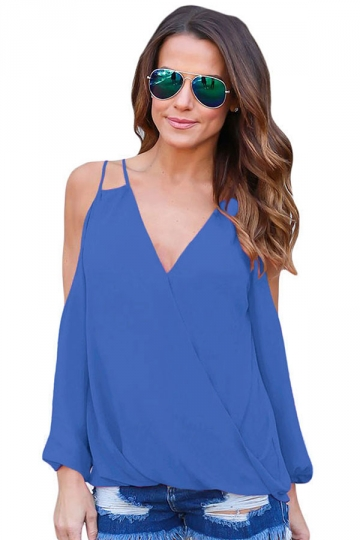 Womens Sexy Cold Shoulder V Neck Wrap Front Breezy Blouse Blue