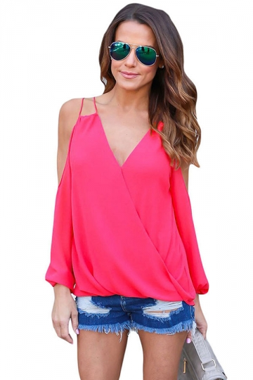 Womens Sexy Cold Shoulder V Neck Wrap Front Breezy Blouse Rose Red