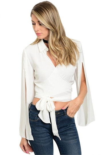 Womens Sexy V-Neck Long Slit Sleeve High Waist Bandage Blouse White