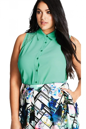 Womens Plus Size Lace Patchwork Hollow Out Blouse Turquoise
