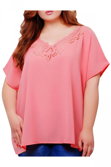 Womens Plus Size Plain Lace Patchwork Short Sleeve Blouse Pink