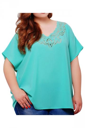 Womens Plus Size Plain Lace Patchwork Short Sleeve Blouse Turquoise