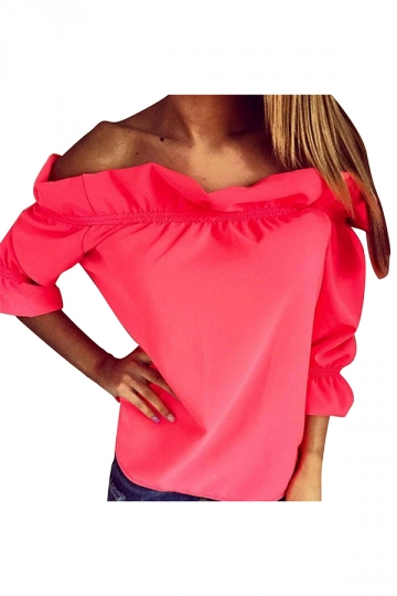 Womens Sexy Off Shoulder Ruffle Chiffon Blouse Watermelon Red