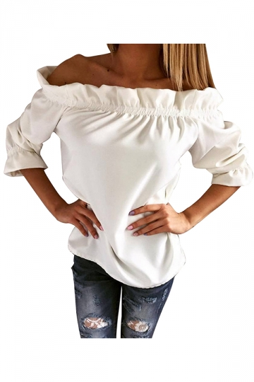 Womens Sexy Off Shoulder Ruffle Chiffon Blouse White
