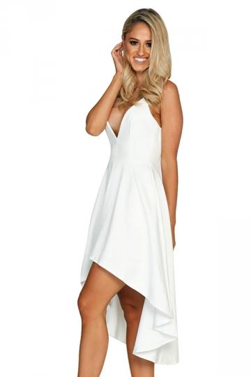 Womens Sexy Straps V-Neck Asymmetrical Hem Midi Dress White